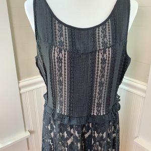 Lane Bryant Lace Overlay Black Sleeveless Dress